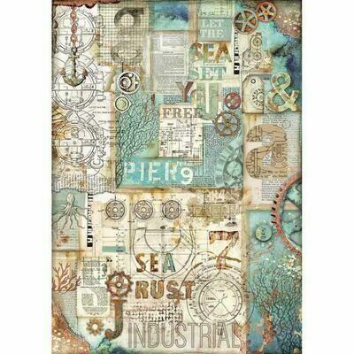 Sea World Sea Rust A3 Rice Paper - Stamperia