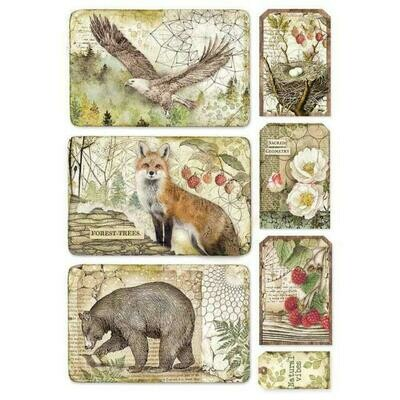 Forest Framed Eagle, Bear, Fox A4 Rice Paper - Stamperia