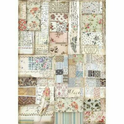 Imagine Patchwork Feather A4 Rice Paper - Stamperia