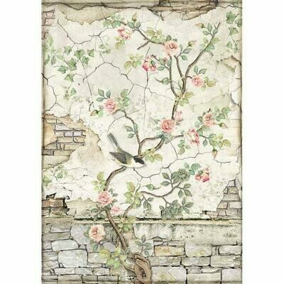 House of Roses Little Bird on Branch A4 Rice Paper - Stamperia