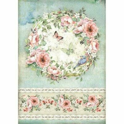 House of Roses Roses and Butterfly A4 Rice Paper - Stamperia