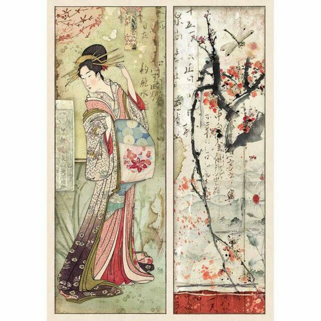 Oriental Garden Geisha Card A4 Rice Paper - Stamperia