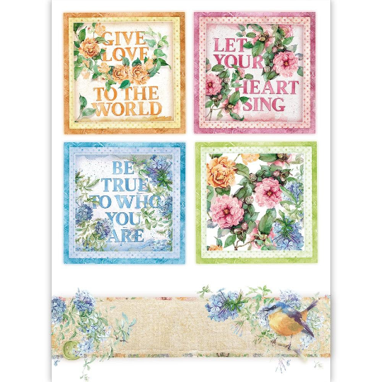 Flowers For You - Cards - A4 -Stamperia Rice Paper