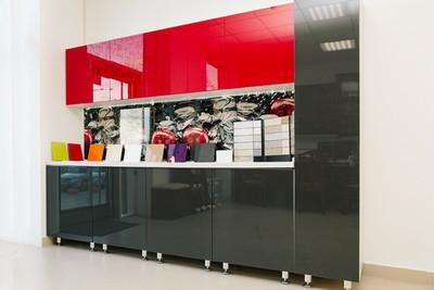 Кухня | Акрил | Lemark | Красный Графит