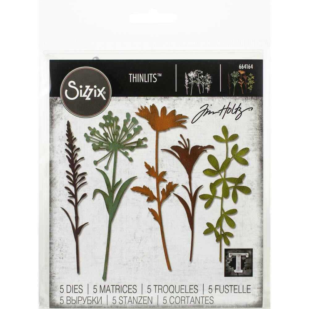 Tim Holtz Sizzix Thinlits Dies Wildflower Stems #2