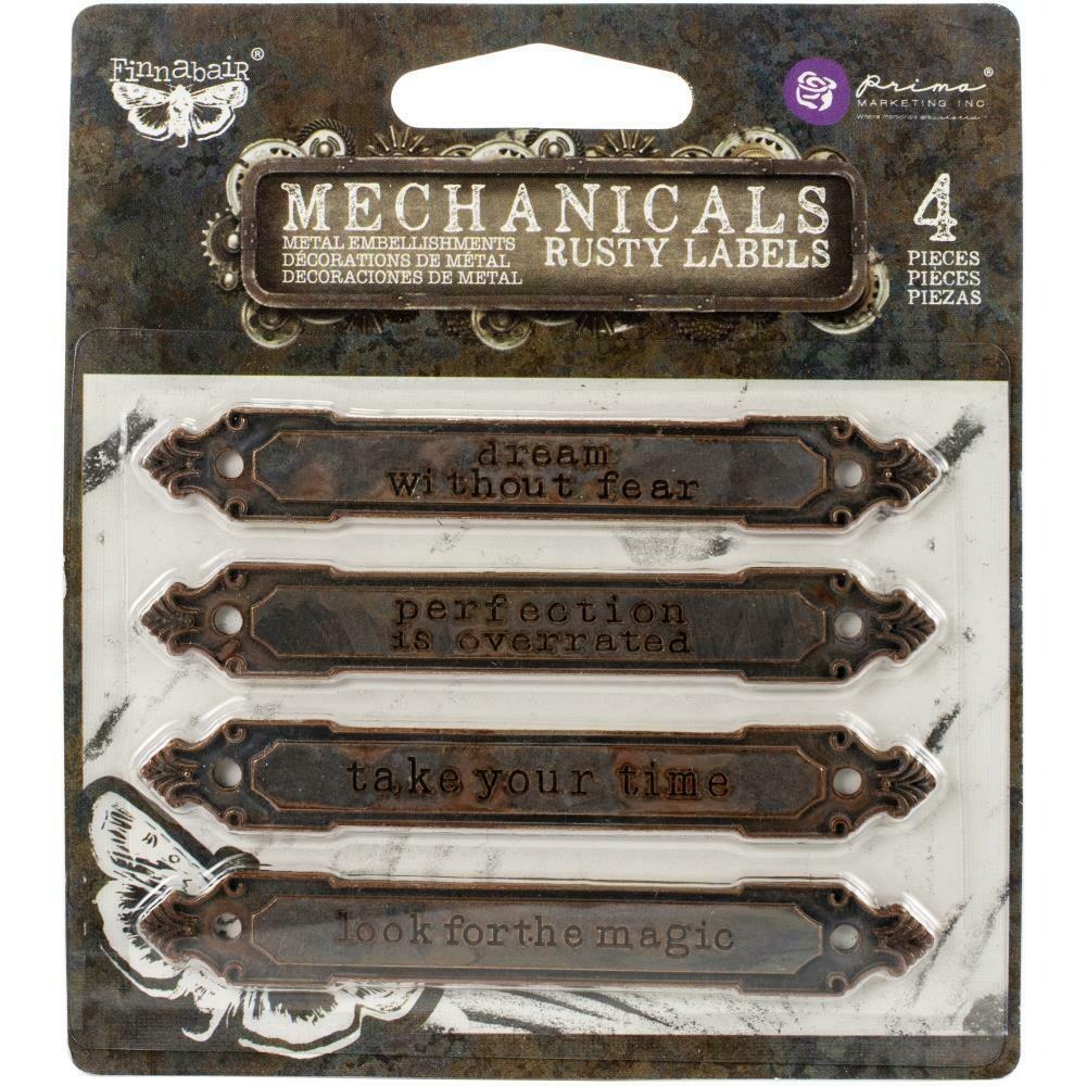 Finnabair Mechanicals Metal Embellishments Rusty Labels