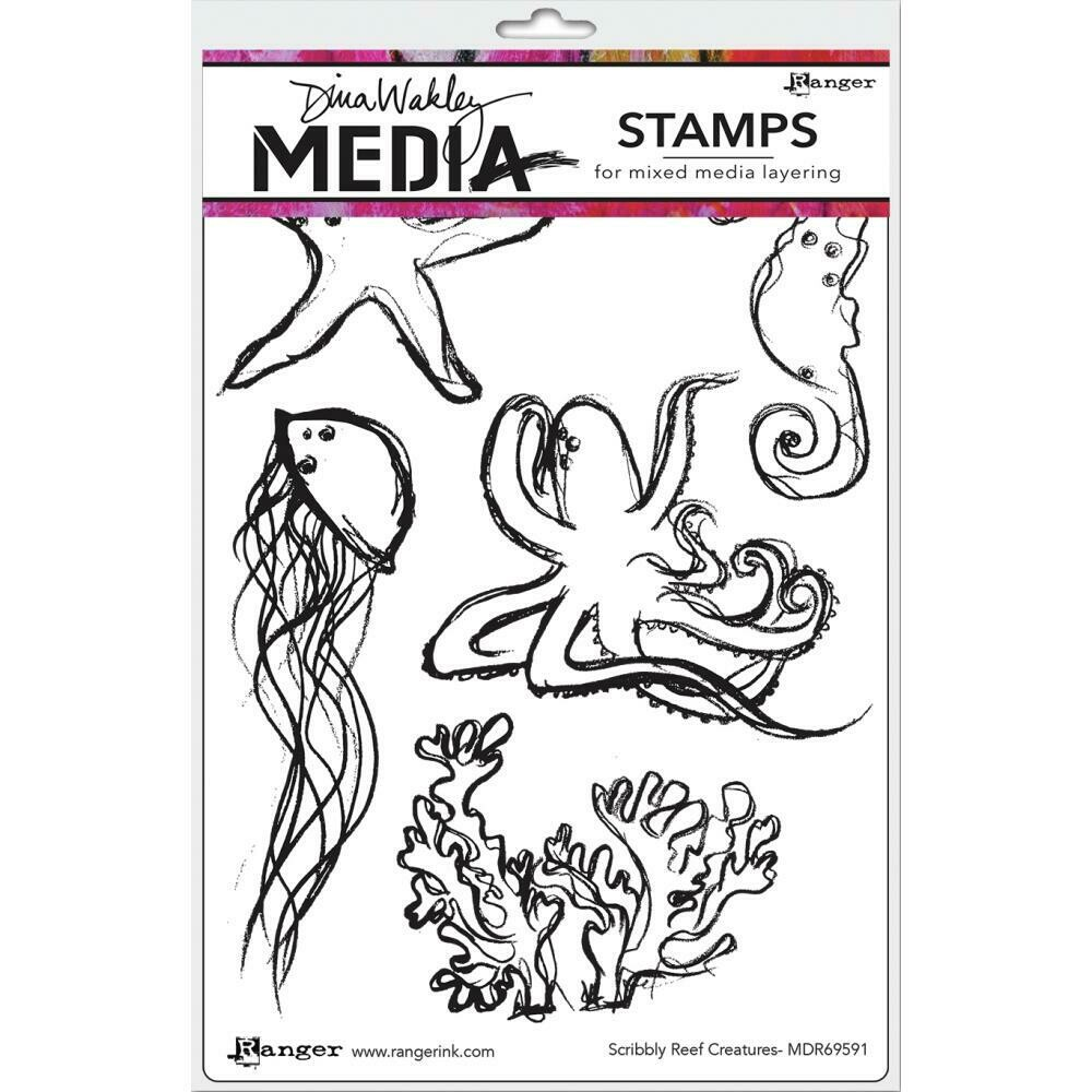 Dina Wakley Media Cling Stamps Scribbly Reef Creatures
