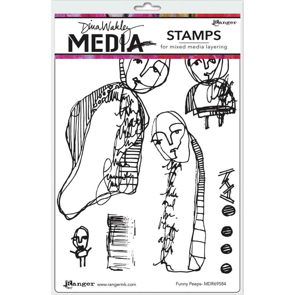Dina Wakley Media Cling Stamps Funny Peeps