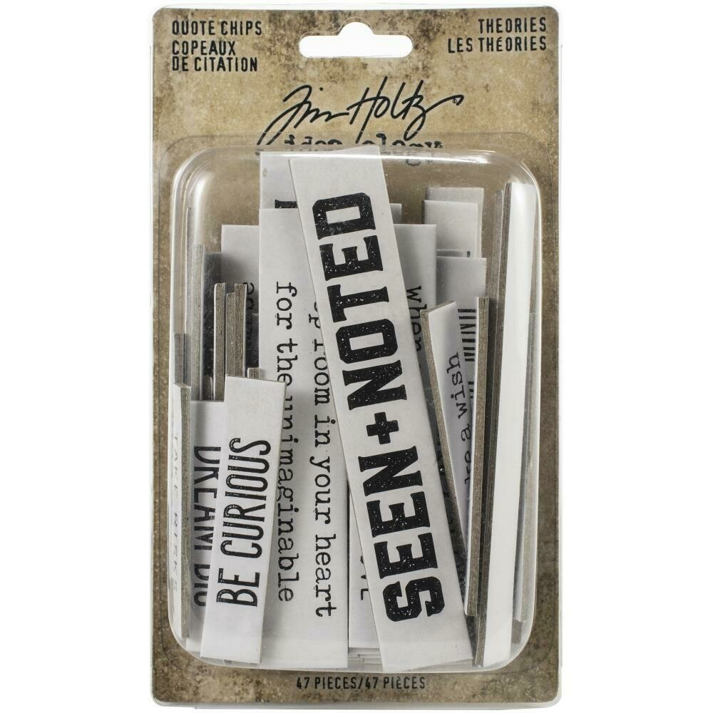 Tim Holtz Idea-Ology Chipboard Quote Chips Theories