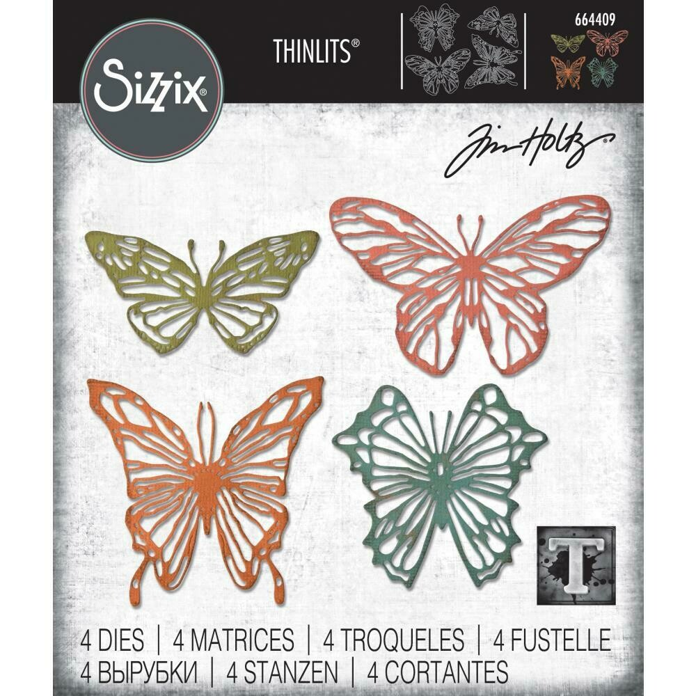 Tim Holtz Sizzix Thinlits Dies Scribbly Butterfly