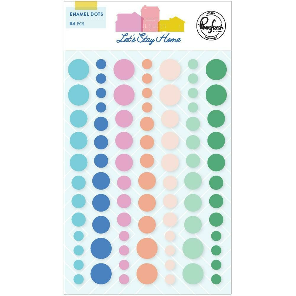 PinkFresh Enamel Dot Stickers Let's Stay Home