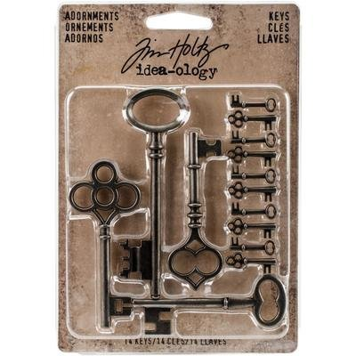 Tim Holtz Idea-Ology Metal Adornments Silver Keys