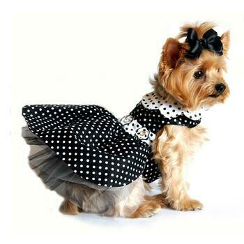 Polka Dot Dog Dress - Black and White