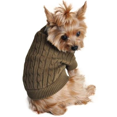 Combed Cotton Cable Knit Dog Sweater (Herb Green)
