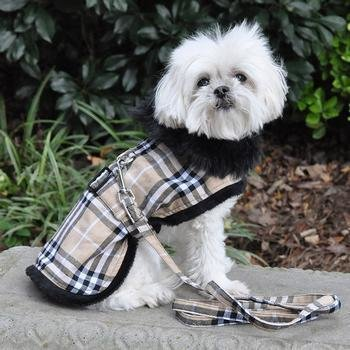 Brown Plaid Classic Dog Coat, Harness, & Leash
