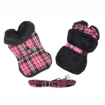Hot Pink Plaid w/Black Dog Harness Coat