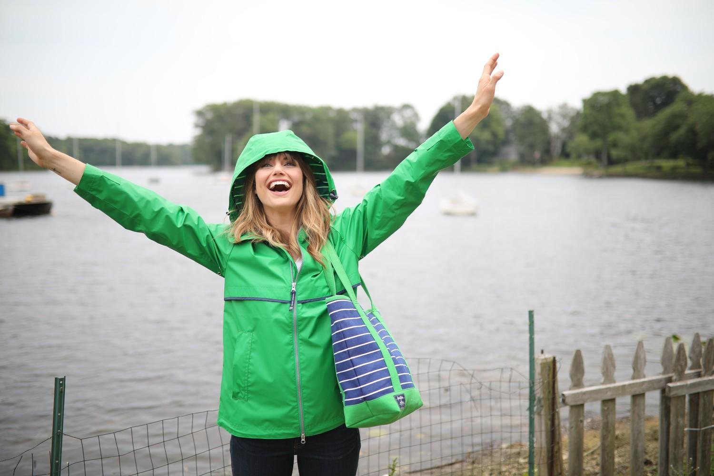 New Englander Rain Jacket - Kelly with printed lining