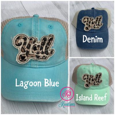 Raggy Leopard Y'all Trucker Style Hat