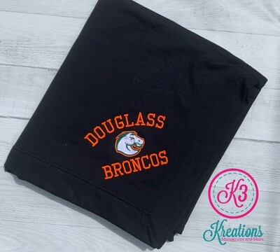 Douglass Broncos Fleece Sweatshirt Blanket (3 color options)