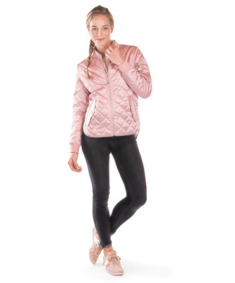 Ladies Quilted Boston Flight Jacket in Rose Gold