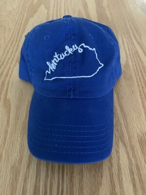 Royal Blue Hat with White Embroidered Kentucky State Design