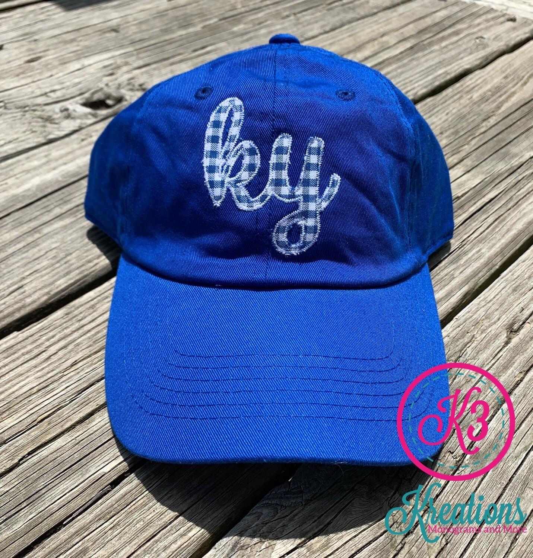 Royal Blue Hat with Gingham KY Design