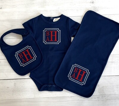 Navy Set with Red Monogram
