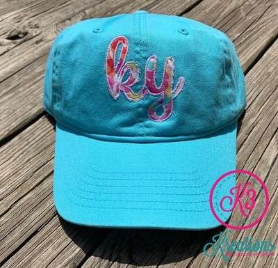 Comfort Color Blue Lagoon Hat with Multicolor KY
