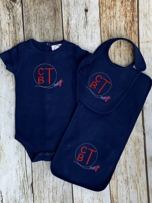 Navy Airplane Set with Red Monogram