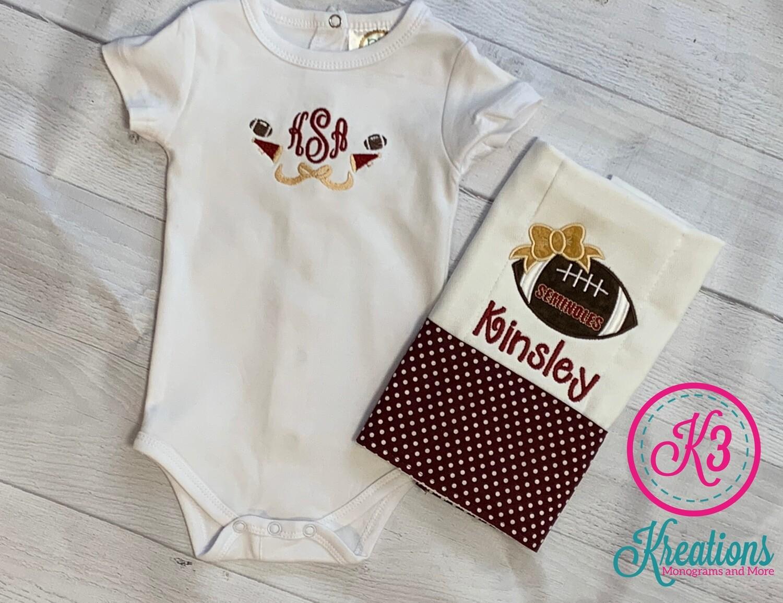 Football Cheerleader Onesie and Burp Cloth