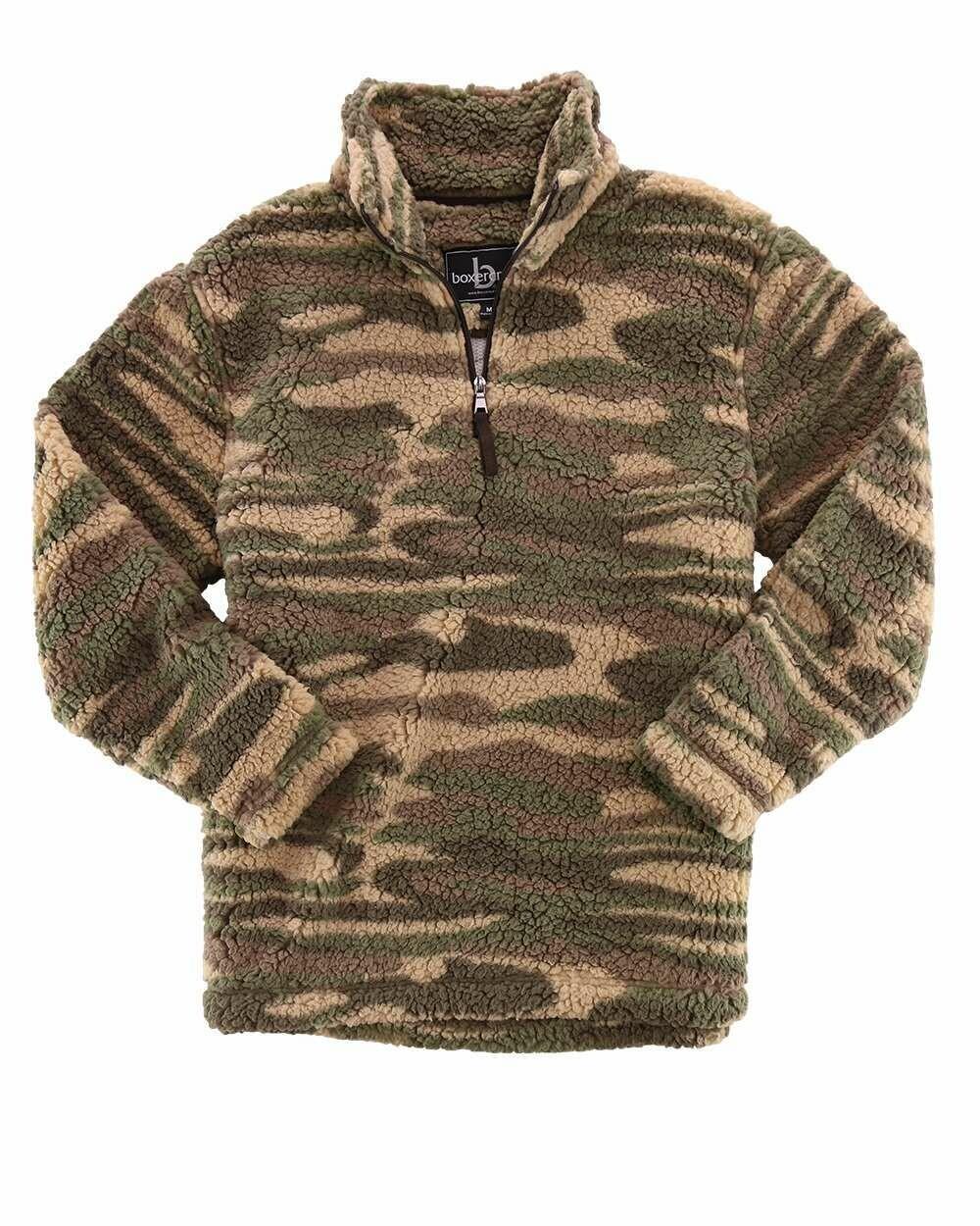 Unisex Camo Sherpa Fleece Quarter-Zip Pullover with choice of Douglass Logo or Monogram