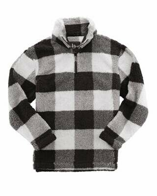 Youth Plaid Sherpa Quarter-Zip Pullover