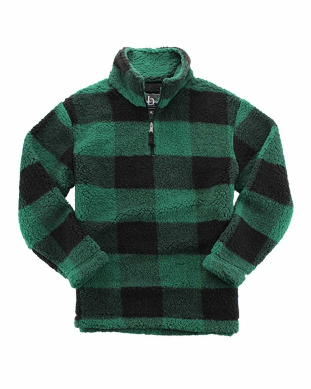 Unisex Plaid Sherpa Fleece Quarter-Zip Pullover with choice of logo or monogram