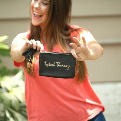 Black Retail Therapy Coin Purse