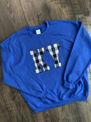 Adult KY Black Gingham Crewneck Sweatshirt