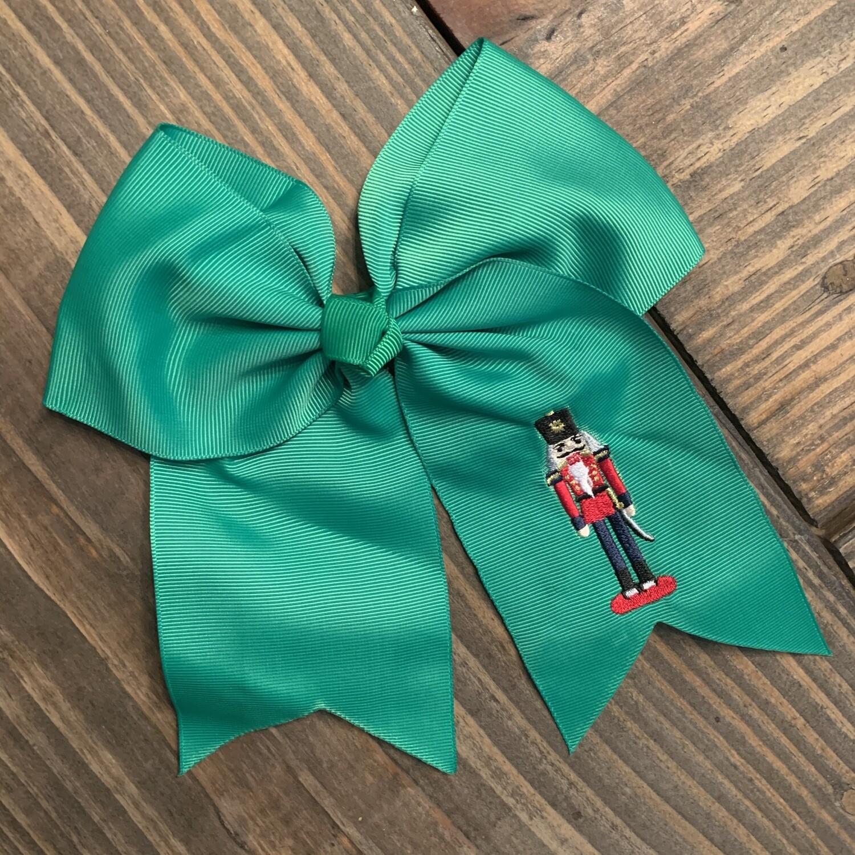 Nutcracker Hair Bow - Choose Green or White