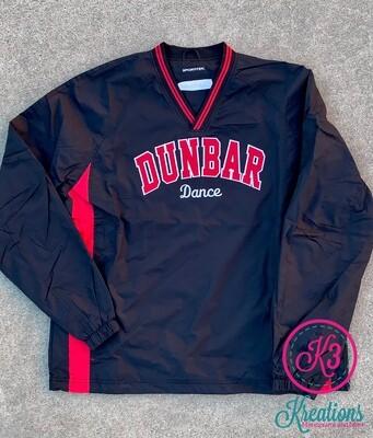 Sport-Tek® Tipped V-Neck Raglan Wind Shirt in Black/Red