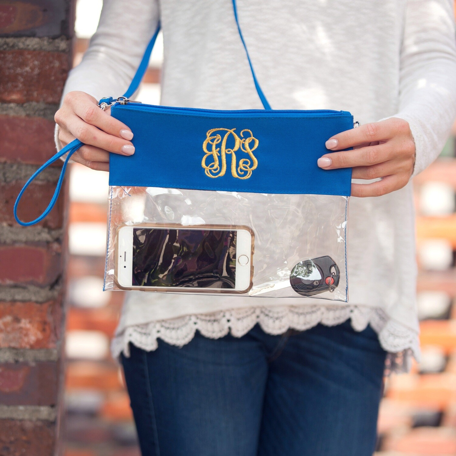 Royal Blue Clear Zip Pouch