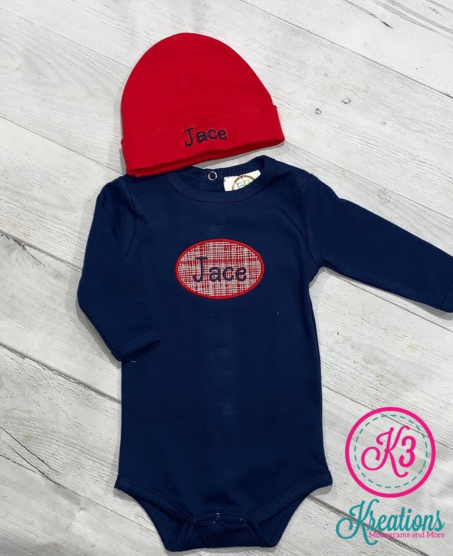 Baby Boy Navy & Red Onesie with Hat