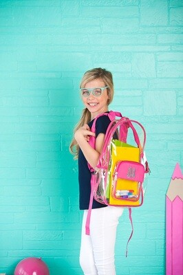 Hot Pink Clear Backpack
