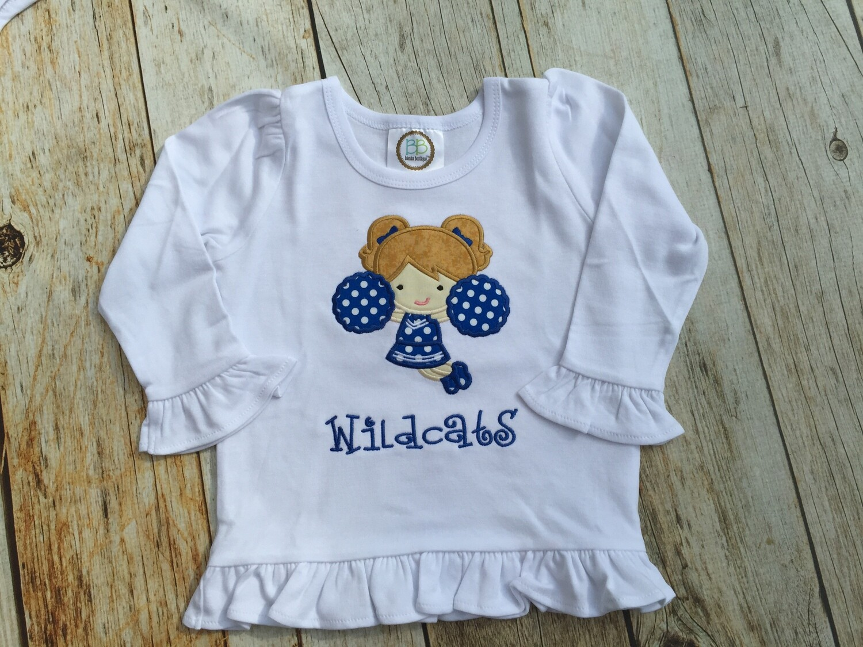 Girls Wildcats Cheerleader Long Sleeved Ruffle Shirt