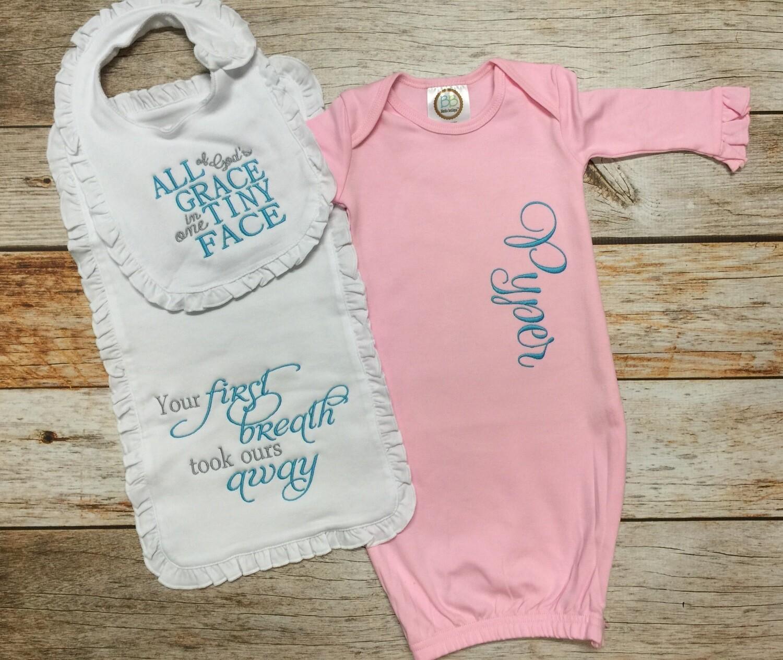 Pink Gown with Ruffle Bib & Burp Cloth Set