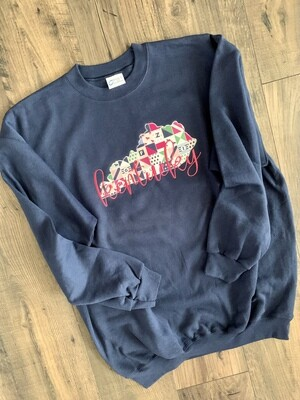 Kentucky State Derby-Inspired Navy Crewneck