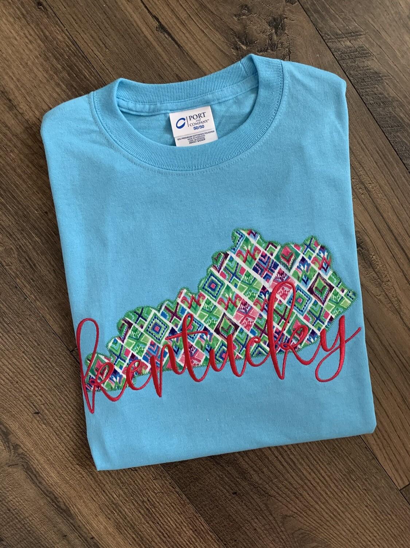 Kentucky State Colorful Diamond Short Sleeve Aqua Blue Tee