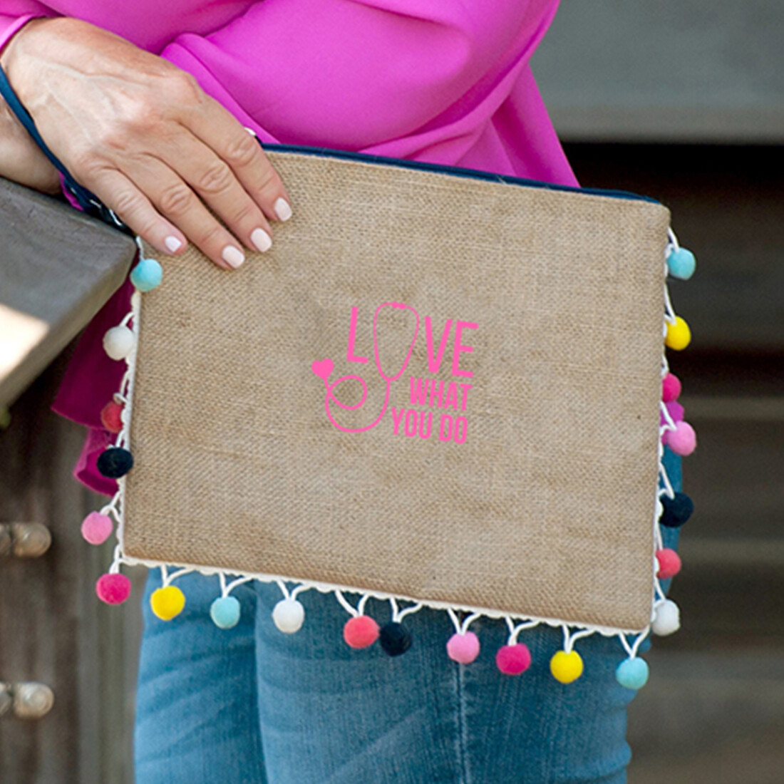 Love What You Do Multi-Colored Pom-Pom Clutch