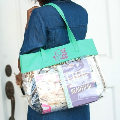 Love What You Do Mint Clear Tote