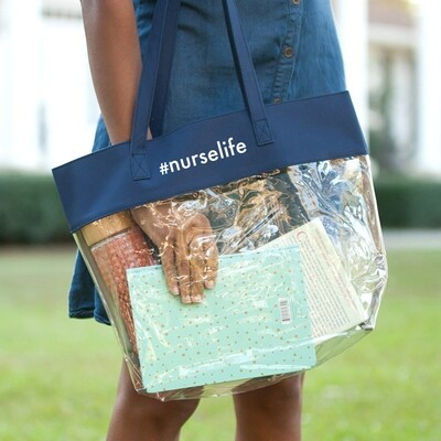 #nurselife Navy Clear Tote