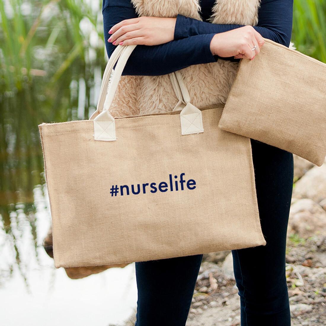 #nurselife Burlap Tote Bag