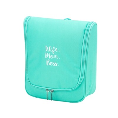 Wife.Mom.Boss Mint Hanging Travel Case