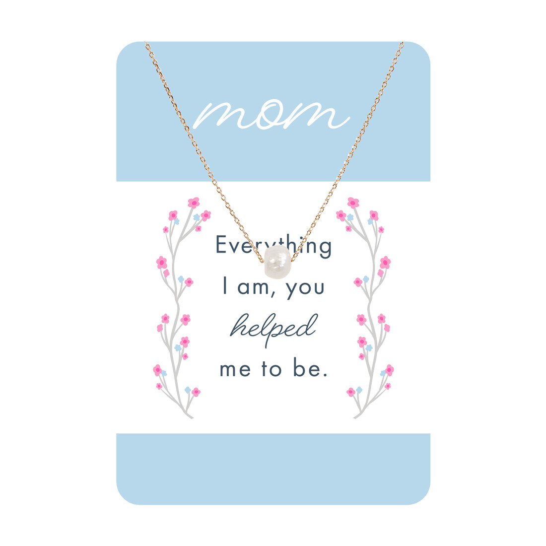 Gold Pearl Mom Necklace Card